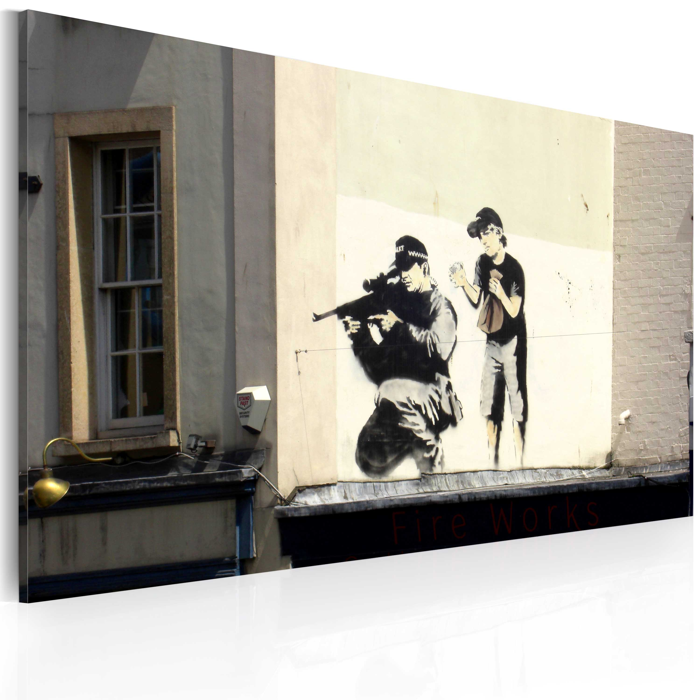 Tableau - Tireur et garçon (Banksy)