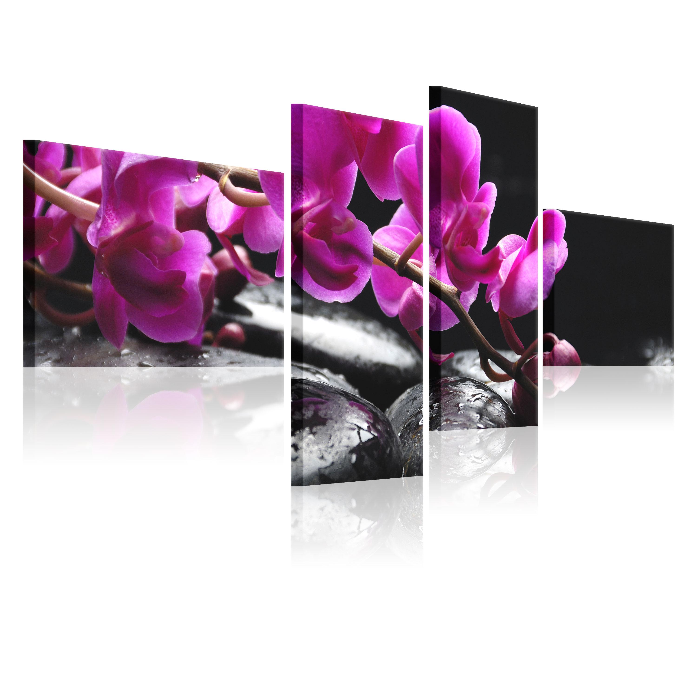Tableau - Orchidée rose et pierre Zen