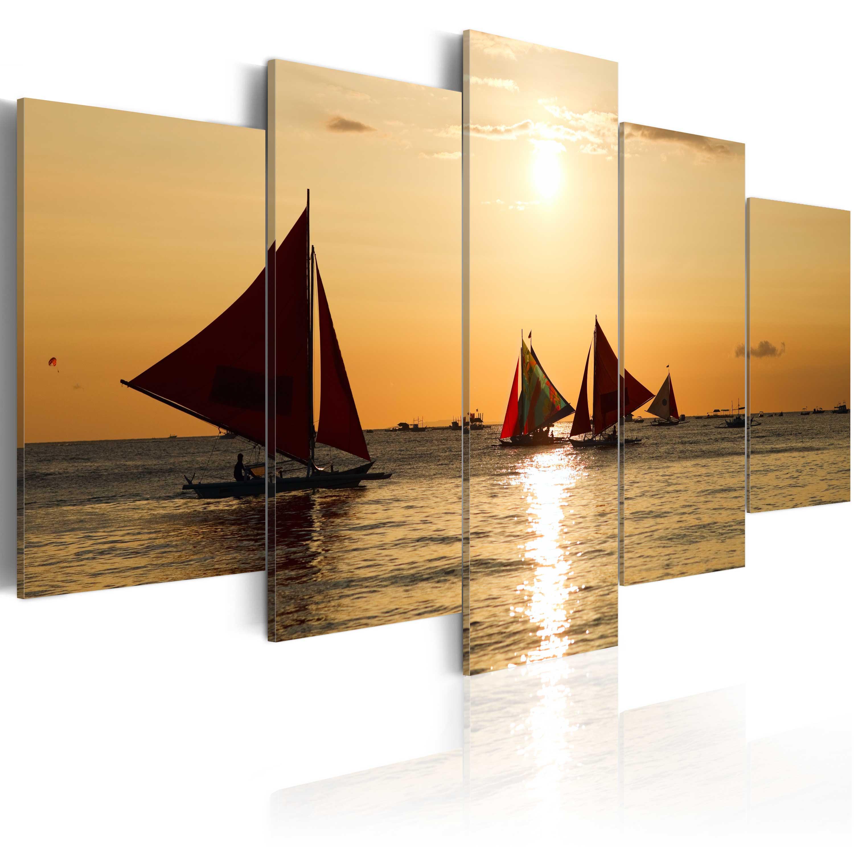 Tableau - Bateaux à voiles au coucher du soleil
