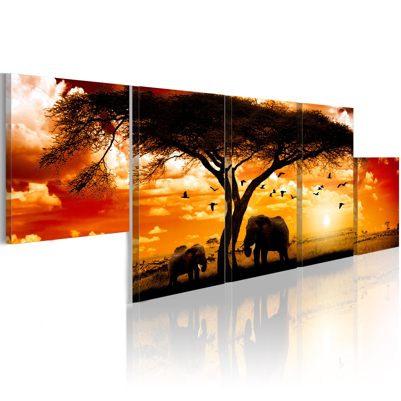 Tableau - Coucher de soleil rouge - Afrique