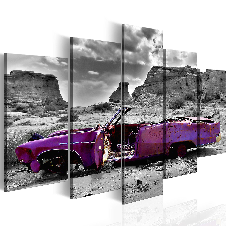 Quadro - Auto in stile retro nel deserto del Colorado: 5 pezzi 100X50 cm