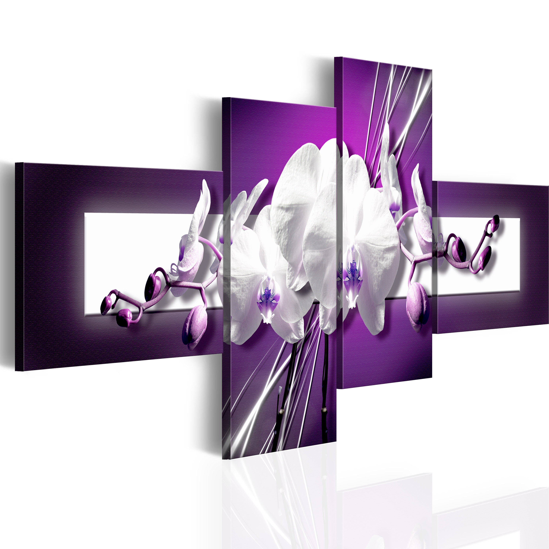 Tableau - Fleur sur le fond violet