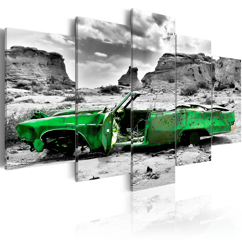 Tableau - Voiture verte rétro dans le désert du Colorado