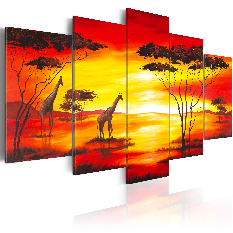 Quadro - Giraffe sullo sfondo del sole che tramonta 200X100 cm