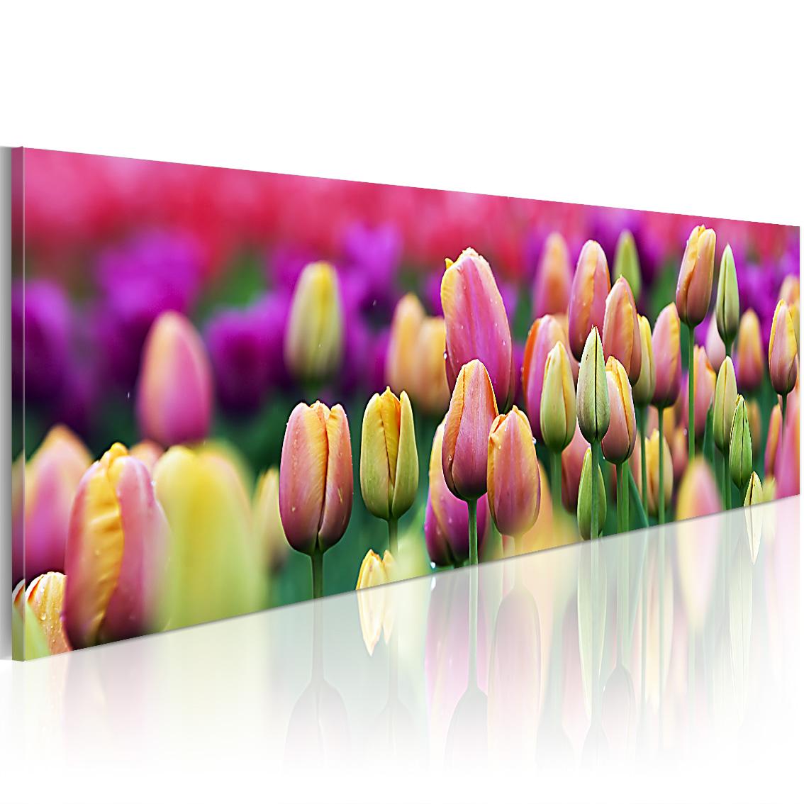 Quadro - Tulipani iridati 120X40 cm