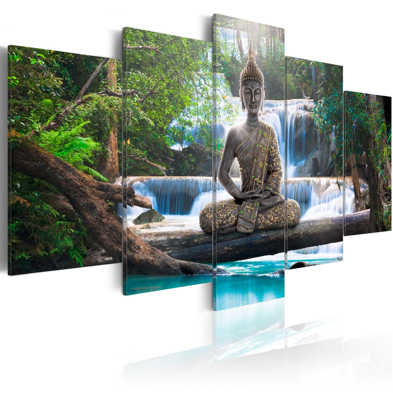 Quadro - Buddha e cascata 100X50 cm