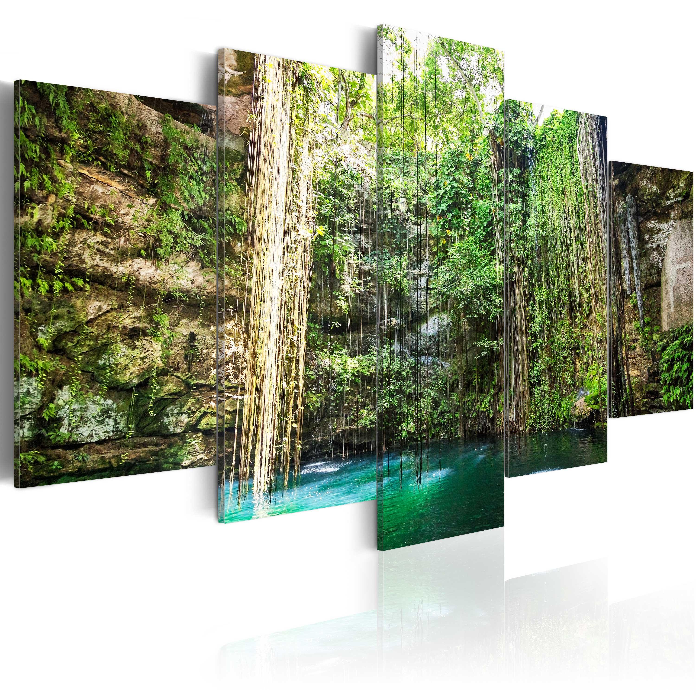 Tableau - Cascade parmi des arbres