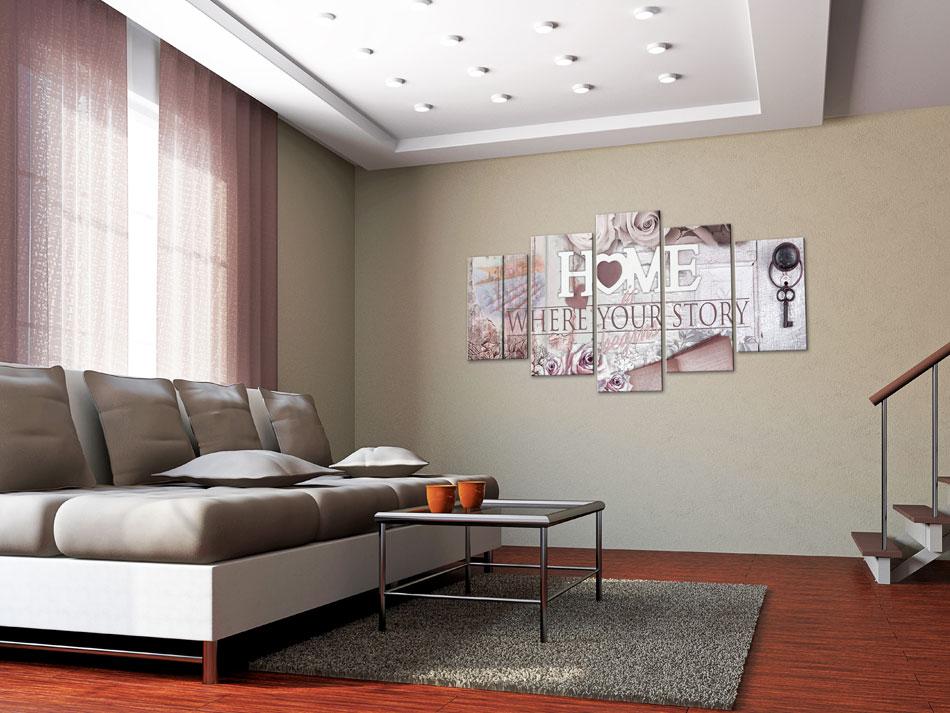 Details zu HOME HERZ Wandbilder xxl Vlies Leinwand Bild Wohnzimmer 3D OPTIK  m-C-0251-b-n
