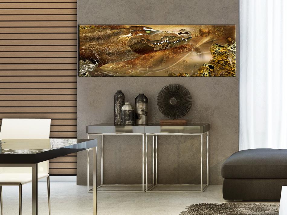 wandbilder xxl krokodil gold abstraktes leinwand bilder wohnzimmer g a 0111 b b ebay. Black Bedroom Furniture Sets. Home Design Ideas