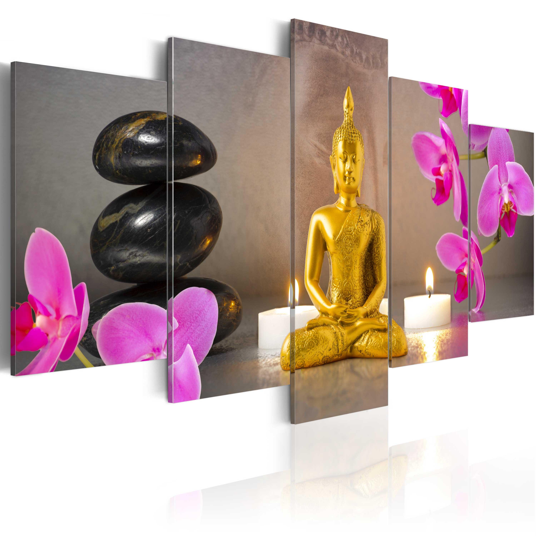 Quadro - Buddha d'oro e orchidee 100X50 cm
