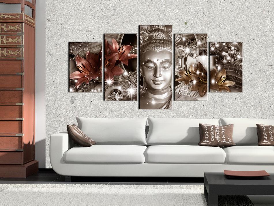 BLUMEN LILIEN BUDDHA ORIENT Wandbilder xxl Bilder Vlies Leinwand h-C-0029-b-n