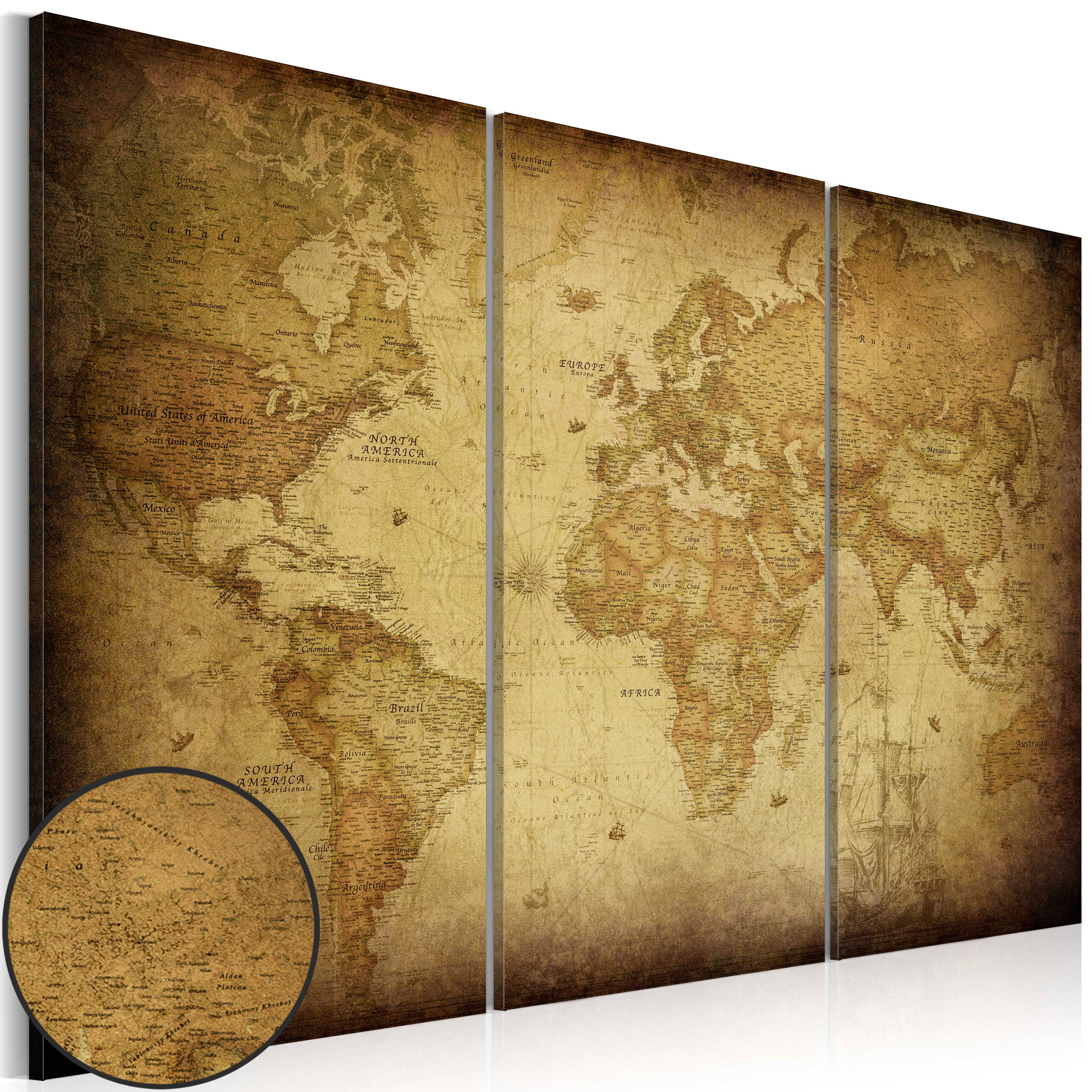 Tableau - Old map: triptych
