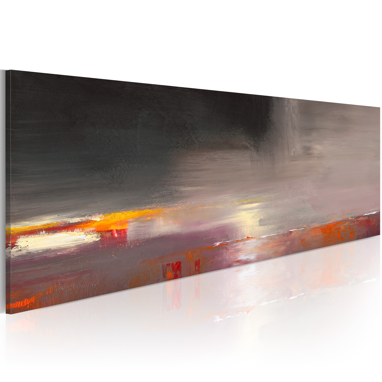 Quadro dipinto - Mare nella nebbia 100X40 cm