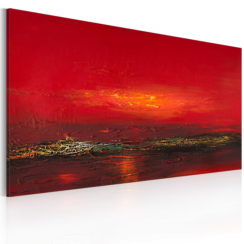 Quadro dipinto - Tramonto rosso sul mare 120X60 cm
