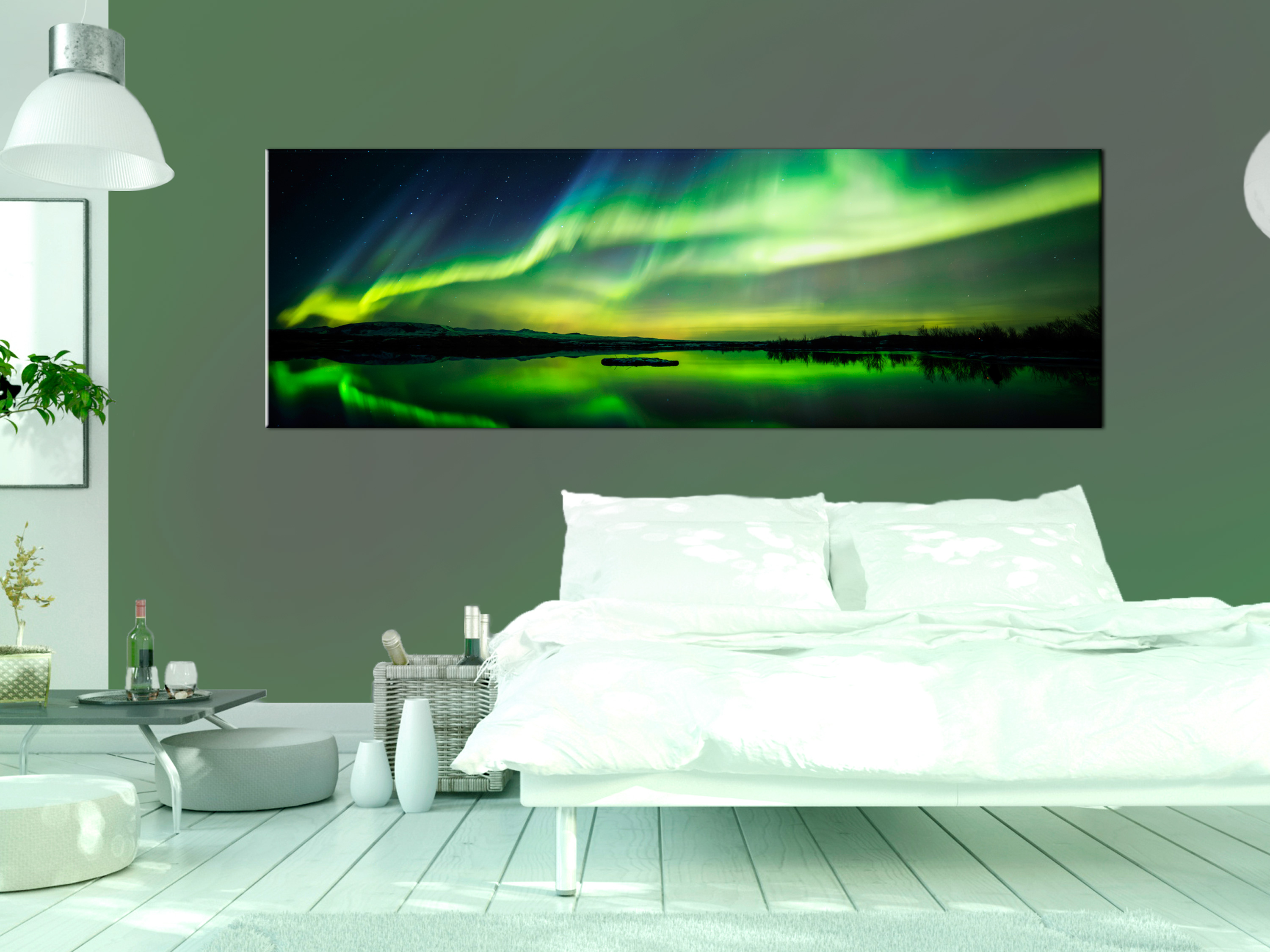 wandbilder xxl wohnzimmer leinwand bilder xxl polarlicht nordlicht c b 0289 b b ebay. Black Bedroom Furniture Sets. Home Design Ideas