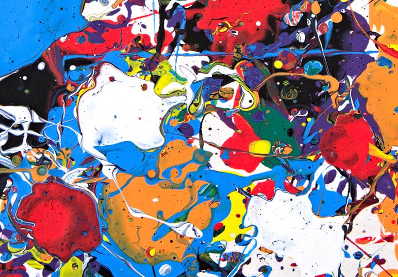 Wandbilder xxl abstrakt bunte flecken leinwand bilder for Wandbilder wohnzimmer abstrakt
