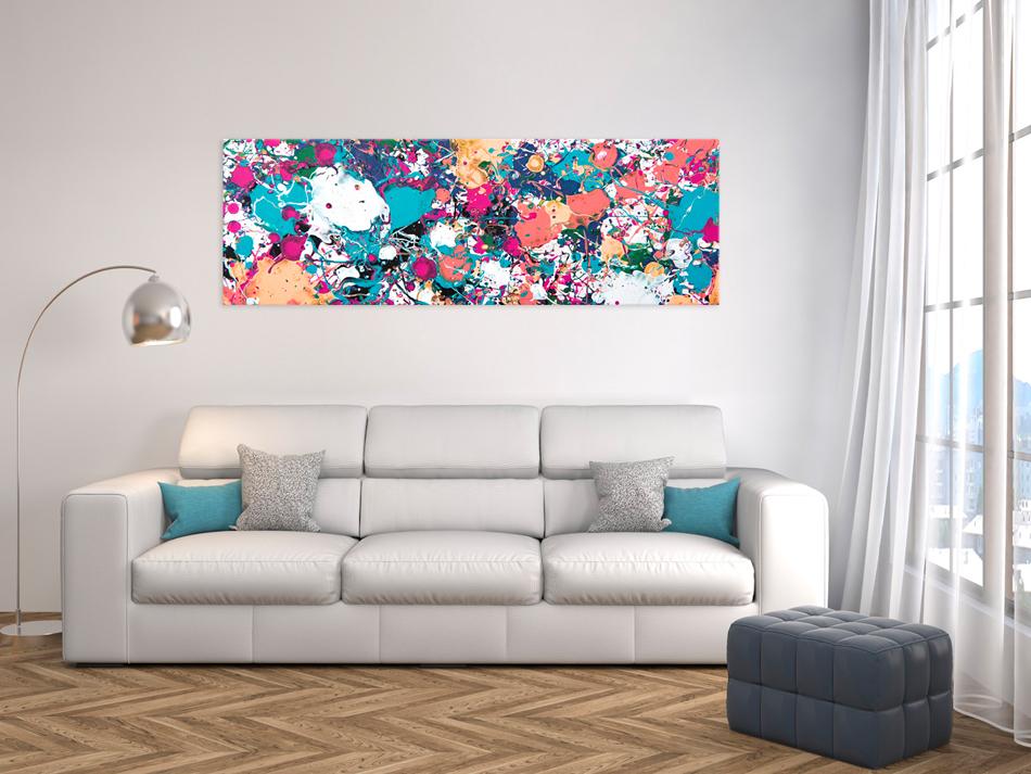 wandbilder xxl abstrakt bunte flecken leinwand bilder wohnzimmer f b 0085 b b ebay. Black Bedroom Furniture Sets. Home Design Ideas