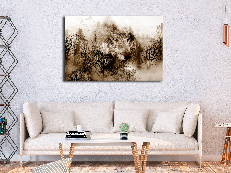 Wandbilder Wohnzimmer Leinwand ~ Wandbilder xxl wolf wald natur gebirge leinwand bilder wohnzimmer