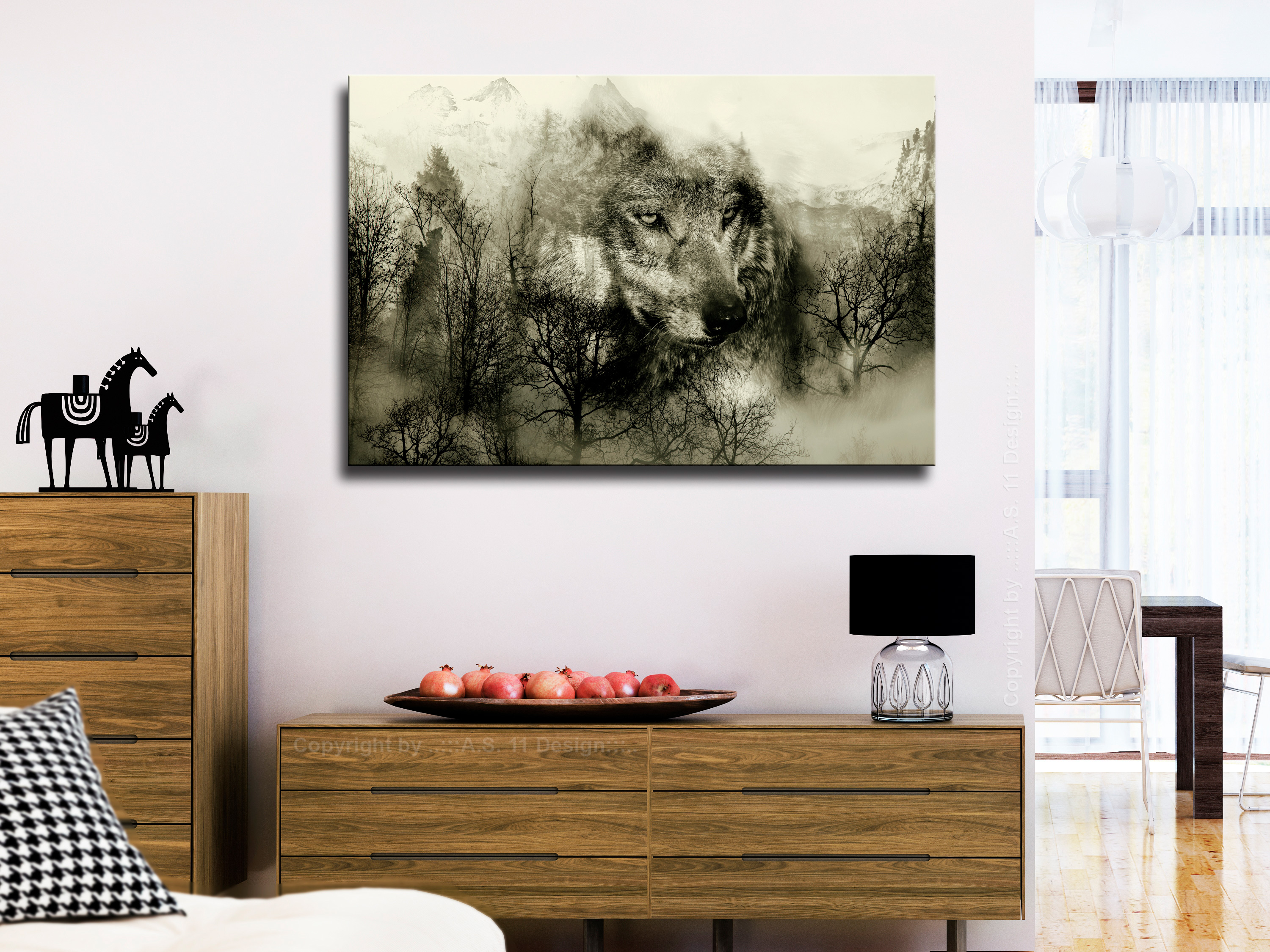 WOLF MOUNTAIN Canvas Print Framed Wall Art Picture Photo Image g-A-0140-b-b