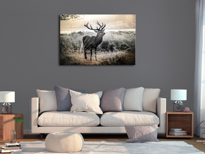 NATUR WALD HIRSCH WINTER Wandbilder xxl Leinwand Bilder