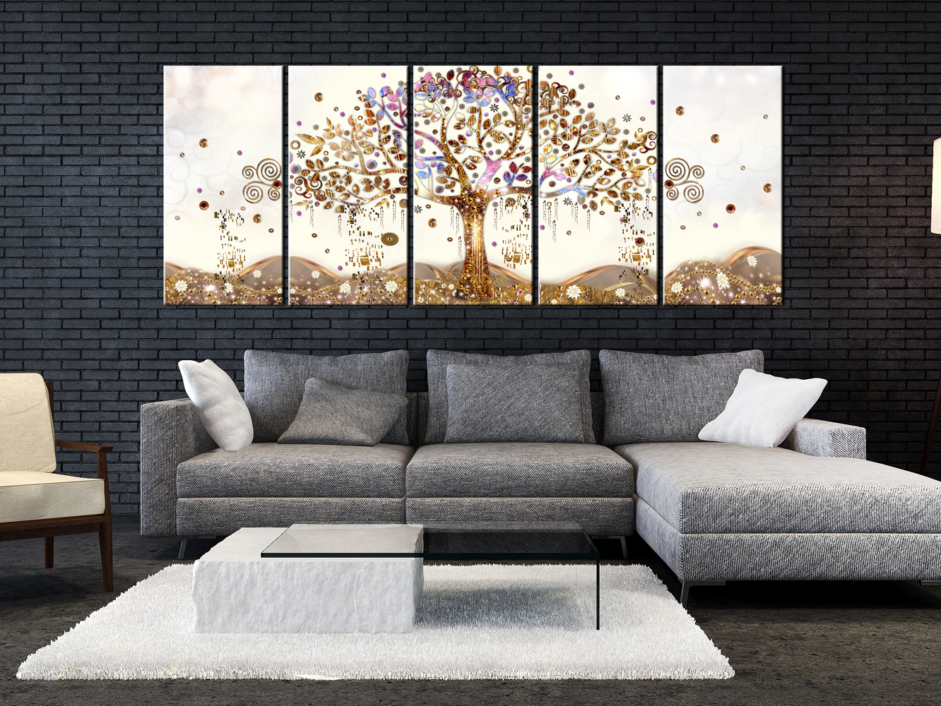 wandbilder xxl baum des lebens klimt leinwand bilder wohnzimmer l a 0009 b n ebay. Black Bedroom Furniture Sets. Home Design Ideas