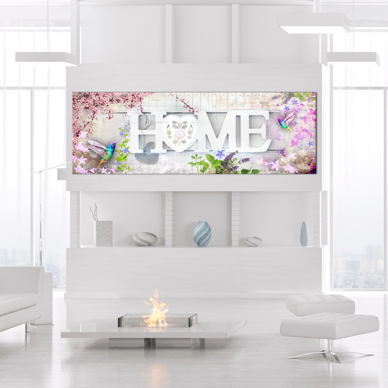 Wandbilder xxl Blumen Home Herz Kolibri Leinwand Bilder
