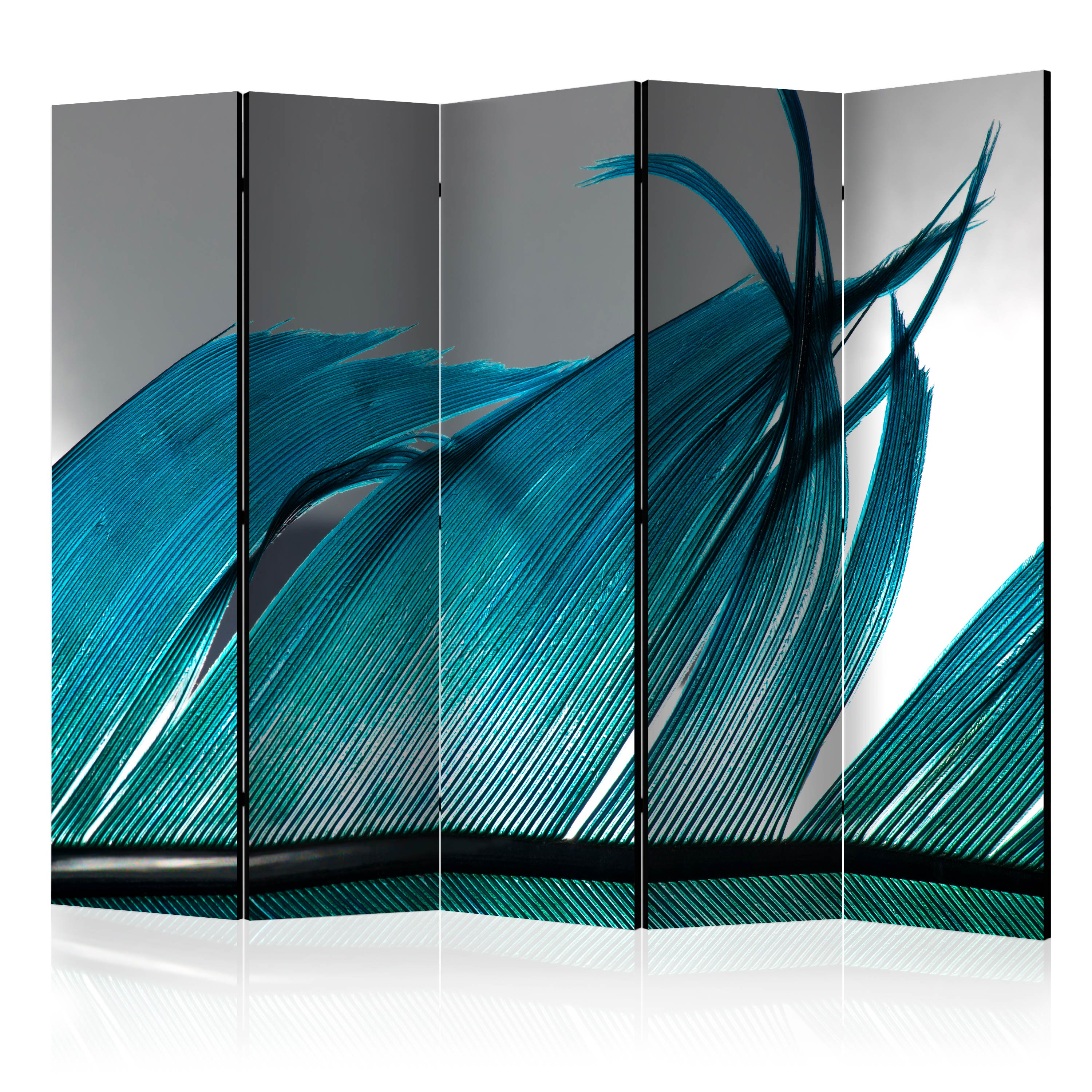 Paravento - Turquoise Feather II [Room Dividers] 225X172 cm