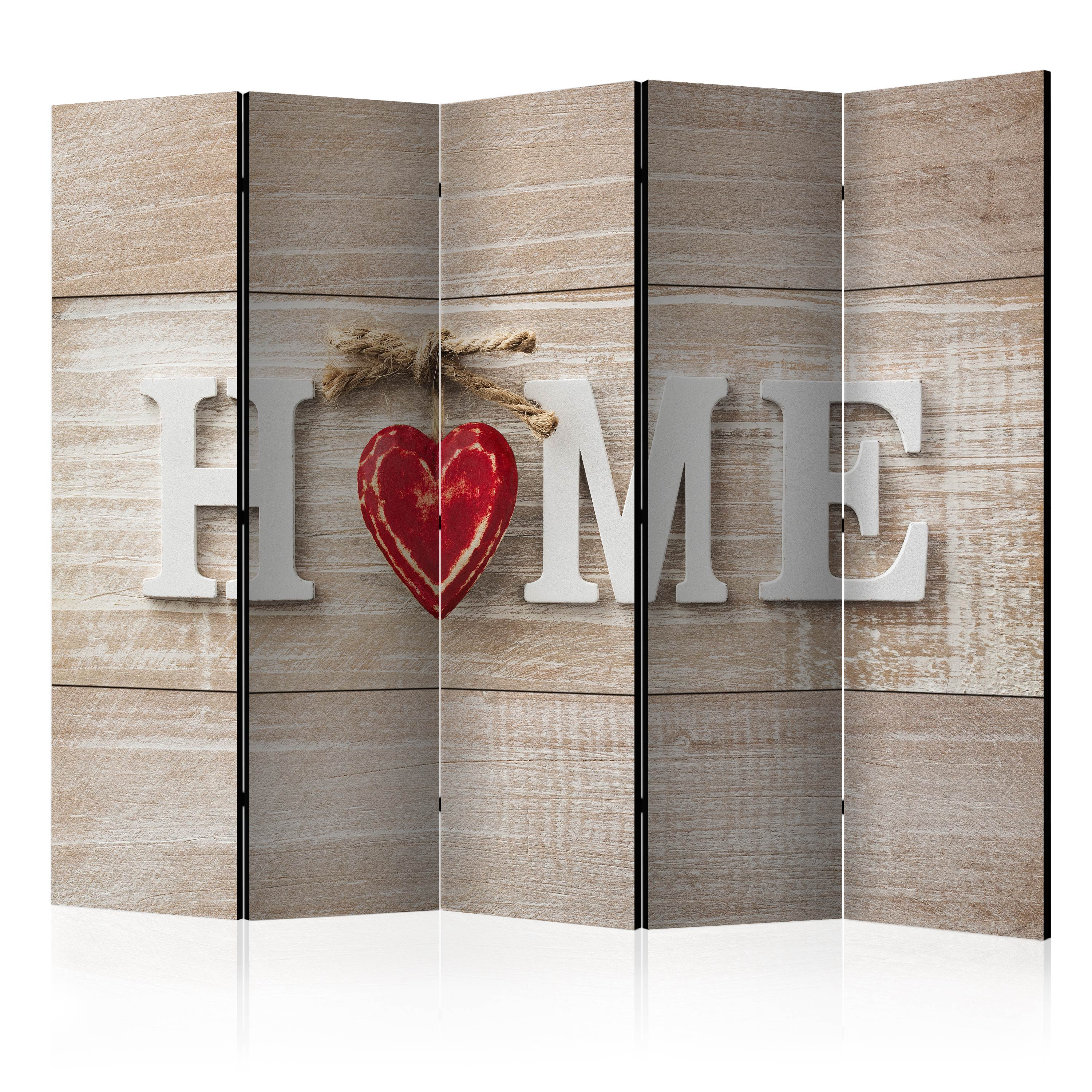Paravento - Room divider - Home and red heart 225X172 cm