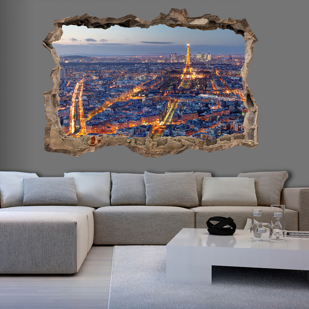 3d wall illusion wallpaper photo print a hole in the for 3d murals for sale